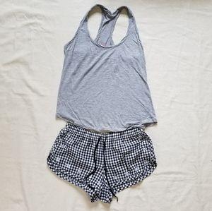 Victoria Secret pajamas grey tank checkered short